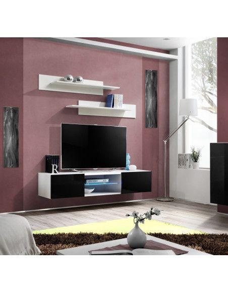 Banc TV - Fly I - 160 cm x 30 cm x 40 cm - Blanc et noir