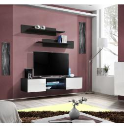 Banc TV - Fly II - 160 cm x 30 cm  x 40 cm - Noir et blanc