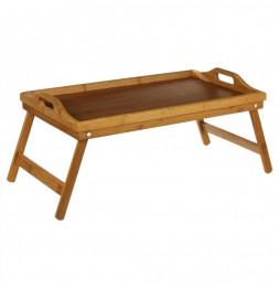 Plateau pour petit dejeuner au lit ou plateau télé - En bambou - Sur pieds repliables