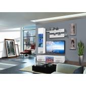 Ensemble meuble TV mural - 1 vitrine LED - Drada VI - L 180 cm - Blanc