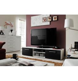 Banc TV - Bono II - 180 cm x 37 cm x 45 cm - Blanc et noir