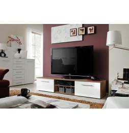 Banc TV - Bono II - 180 cm x 37 cm x 45 cm - Prunier et blanc