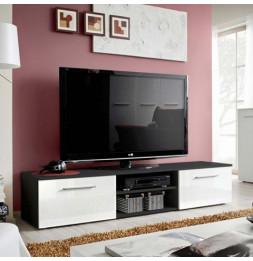 Banc TV - Bono II - 180 cm x 37 cm x 45 cm - Noir et blanc