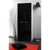 Armoire-penderie - 2D - 70 cm x 55 cm x 190 cm - Blanc et noir