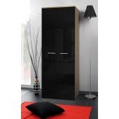 Armoire-penderie - 2D - 70 cm x 55 cm x 190 cm - Chêne et noir