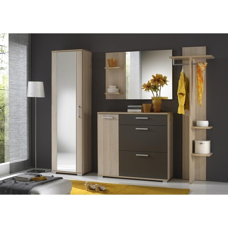 Ensemble de meuble d'entrée - SOLEX - 4 éléments - Frêne et gris