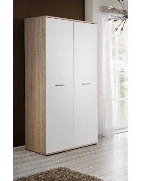 Armoire-penderie - DINO - 90 cm x 191 cm x 55 cm - Chêne et blanc