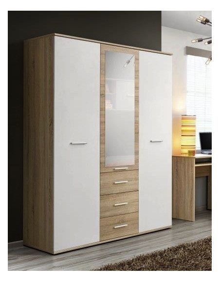 Armoire-penderie - DINO - 135 cm x 191 cm x 55 cm - Chêne et blanc