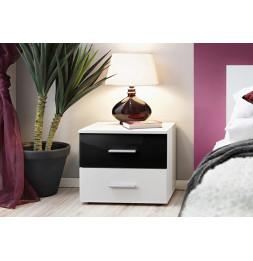 Table de nuit - VICKY I - 50 cm  x 40 cm x 40 cm - Blanc et noir