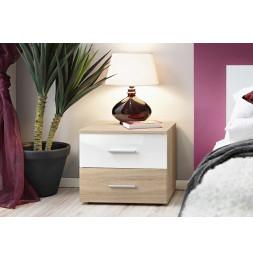 Table de nuit - VICKY II - 50 cm  x 40 cm x 40 cm - Chêne et blanc 1