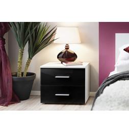 Table de nuit - VICKY II - 50 cm  x 40 cm x 40 cm - Blanc et noir