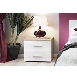Table de nuit - VICKY II - 50 cm  x 40 cm x 40 cm - Chêne et blanc