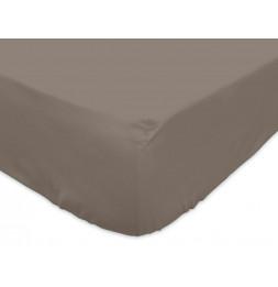 Drap housse - 160 x 200 cm - Taupe - Jersey coton