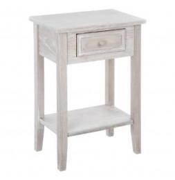 Meuble de chevet - Table de nuit - Bois vieilli  - 1 tiroir + 1 étagère