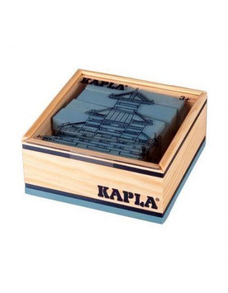 Kapla - Carré de 40 planchettes en bois bleu clair - Jeu ludique pour enfants