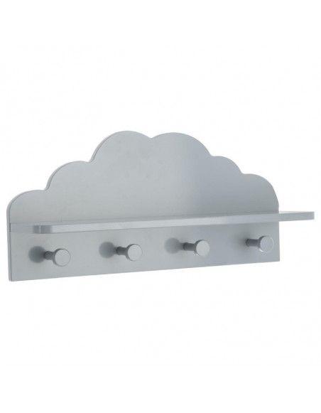 Patère nuage 4 crochets - 48 x 22 x 12 cm - Gris