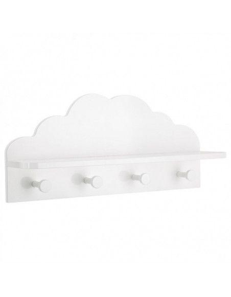 Patère nuage 4 crochets - 48 x 22 x 12 cm - Blanc