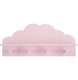 Patère nuage 4 crochets - 48 x 22 x 12 cm - Rose