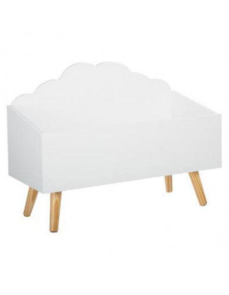 Coffre de rangement nuage - L 58 cm x P 28 cm x H 45 cm - Blanc