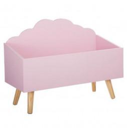 Coffre de rangement nuage - L 58 cm x P 28 cm x H 45 cm - Rose