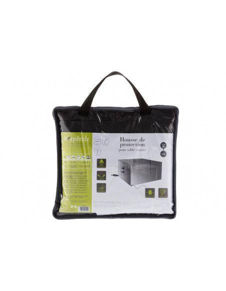 Housse de table carrée - L 165 cm x P 165 cm x H 80 cm - Polyester - Gris