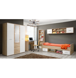 Ensemble de meuble de chambre  - DINO IV - 5 éléments - Chêne et blanc