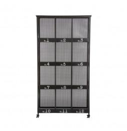Bibliothèque 12 cases - Torof - L 95 cm x P 36,5 cm x H 181 cm - Métal - Noir
