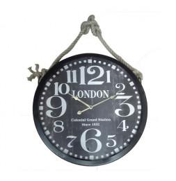 Pendule imprimée London avec corde - D 52 cm - Noir