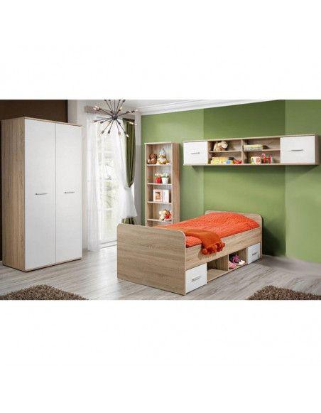 Ensemble de meuble de chambre  - DINO I - 4 éléments - Chêne et blanc