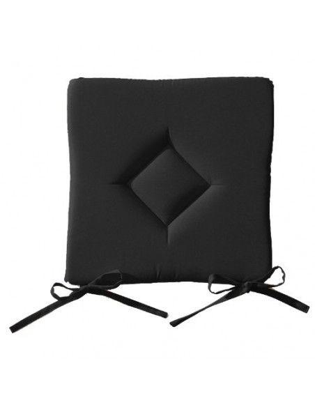 Galette de chaise 40 x 40 cm - Lot de 4 -  Noir