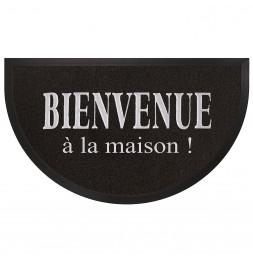 Tapis d'entrée demi-lune - 45 x 75 cm - Maison - Noir/Gris