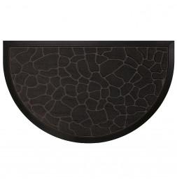 Tapis d'entrée demi-lune - 45 x 75 cm - Galets - Noir