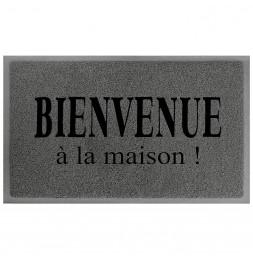 Tapis d'entrée rectangle - 40 x 75 cm - Maison - Gris/Noir