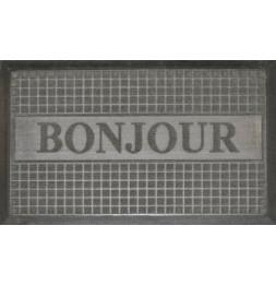 Tapis d'entrée rectangle - 40 x 75 cm - Bonjour- Gris