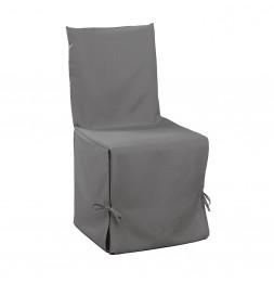 Housse de chaise à nouettes - 50 x 50 x 50 cm - Essentiel - Gris
