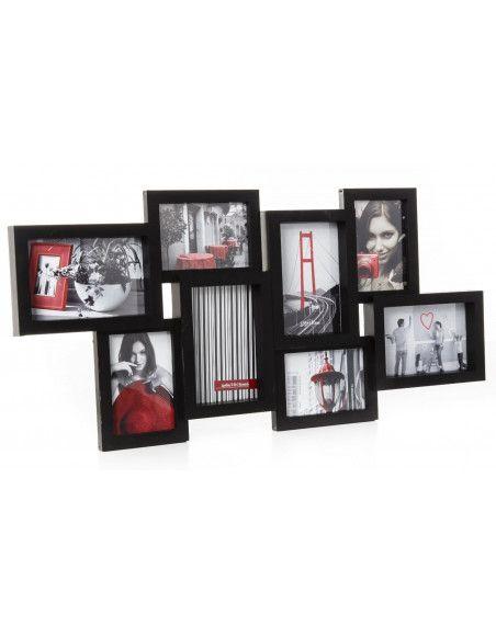 Cadre photo Pêle-mêle mural noir - 8 photos standards