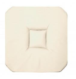 Galette 4 rabats Panama - 36 x 36 x 3,5 cm - Coton - Blanc