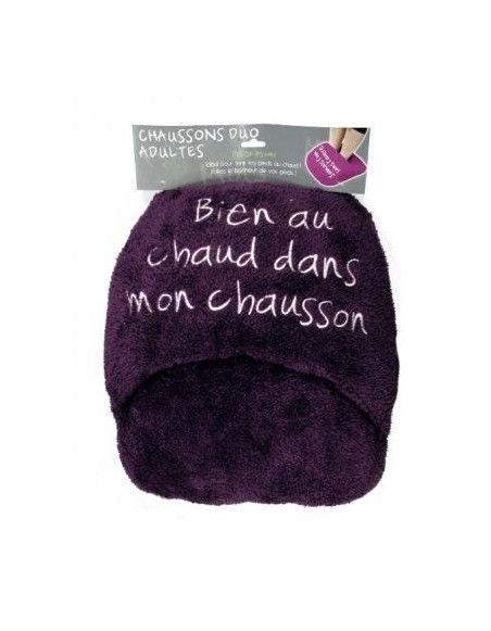 Chausson géant duo ultra doux - Violet foncé