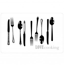 Set de table Love cooking - 28,5 x 44 cm - Polypropylène - Transparent