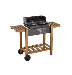 Barbecue au charbon avec chariot - 122.50 x 46.50 x 96.50 cm - Noir