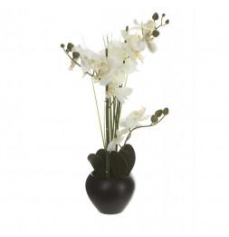 Orchidée et vase en céramique - 50 x 28 x 53 cm - Noir
