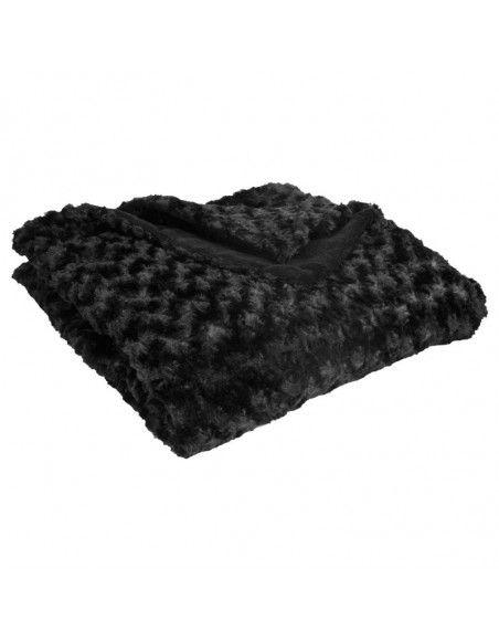 Plaid fourrure  - Bouclée - 120 x 160 cm - Polyester - Noir
