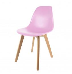 Chaise scandinave pour enfant - 30.50 cm x 36.50 cm x 56.50 cm - Polypropylène et hêtre - Rose