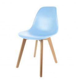 Chaise scandinave pour enfant - 30.50 cm x 36.50 cm x 56.50 cm - Polypropylène et hêtre - Bleu