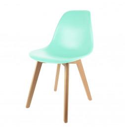 Chaise scandinave pour enfant - 30.50 cm x 36.50 cm x 56.50 cm - Polypropylène et hêtre - Vert