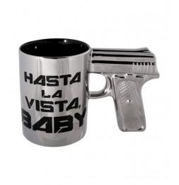 """Mug avec poignée pistolet """"Hasta la vista baby"""" - Argent"""