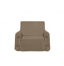 Housse de fauteuil - L 90 cm x P 60cm x H 90 cm - Taupe - 100% coton