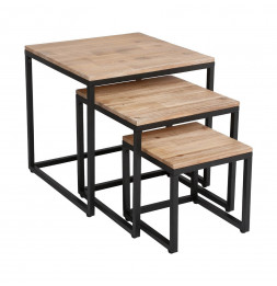 Table basse Edena - Lot de 3 - Bois et métal