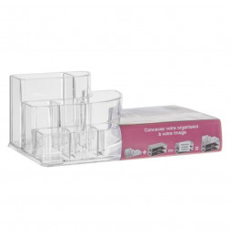 Organiseur make-up 9 compartiments - 17,3 x 9,4 x 6,6 cm - Polystyrène transparent