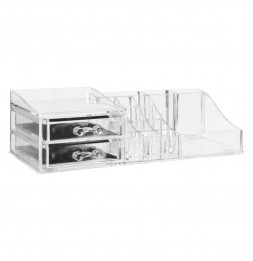 Organiseur make-up 17 compartiments - 30,5 x 15,3 x 9 cm - Polystyrène transparent